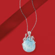 Larimar Octopus Pendant Necklace in Sterling Silver