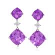 14.50 ct. t.w. Amethyst and .20 ct. t.w. Diamond Drop Earrings in 14kt White Gold