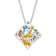 """Belle Etoile """"Serengeti"""" Ivory and Multicolored Enamel Pendant with CZ Accents in Sterling Silver"""