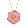 Italian 18kt Gold Over Sterling Pink Enamel Flower Pendant Necklace