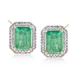 3.60 ct. t.w. Zambian Emerald and .25 ct. t.w. Diamond Frame Earrings in 14kt Yellow Gold