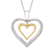 .33 ct. t.w. Diamond Double Open-Space Heart Necklace in Sterling Silver and 14kt Yellow Gold