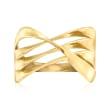 14kt Yellow Gold Open-Space Crisscross Ring