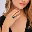 C. 1990 Vintage Black Onyx and .43 ct. t.w. Diamond Ring in 18kt White Gold