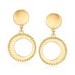 Italian 14kt Yellow Gold Open Circle Drop Earrings