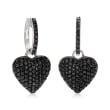 2.10 ct. t.w. Black Spinel Heart Drop Earrings in Sterling Silver