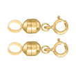 Italian Set of Two Small Magnetic Clasp Converters: 14kt Yellow Gold