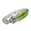 "Belle Etoile ""Chameleon"" Multicolored Enamel and 4.69 ct. t.w. CZ Cuff Bracelet in Sterling Silver"