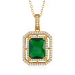 4.00 Carat Simulated Emerald and .40 ct. t.w. CZ Pendant Necklace in 18kt Gold Over Sterling