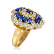 C. 1990 Vintage 3.19 ct. t.w. Sapphire and 1.27 ct. t.w. Diamond Floral Ring in 18kt Yellow Gold