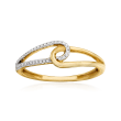 14kt Yellow Gold Interlocking Loop Ring with Diamond Accents