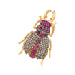 C. 1960 Vintage 2.00 ct. t.w. Ruby and 1.50 ct. t.w. Diamond Bug Pin/Pendant in 14kt Gold Over Sterling