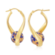 Italian Blue Murano Glass Bead Twisted Hoop Earrings in 18kt Gold Over Sterling