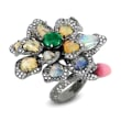 Opal, Shell Pearl, 2.23 ct. t.w. Diamond and 1.75 Carat Emerald Flower Ring in 18kt White Gold with Black Rhodium