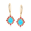 Turquoise and .30 ct. t.w. Pink Sapphire Drop Earrings in 14kt Yellow Gold