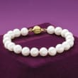 8-8.5mm Cultured Pearl Bracelet with 14kt Yellow Gold