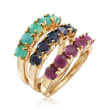 4.80 ct. t.w. Multi-Gemstone Jewelry Set: Three Rings in 18kt Gold Over Sterling