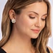 5.5-6mm Cultured Pearl and .18 ct. t.w. Diamond Floral Earrings in 14kt Yellow Gold