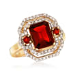 2.70 ct. t.w. Garnet and .38 ct. t.w. Diamond Ring in 14kt Yellow Gold