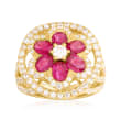 C. 1990 Vintage 2.25 ct. t.w. Ruby and 1.80 ct. t.w. Diamond Flower Ring in 18kt Yellow Gold