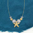 .50 ct. t.w. Pave Diamond Sea Life Necklace in Two-Tone Sterling Silver