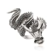 Sterling Silver Dragon Wrap Ring with CZ Accents