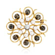 C. 1980 Vintage Cultured Pearl and 3.60 ct. t.w. Black Sapphire Flower Pin with .45 Carat Diamond in 10kt Yellow Gold