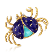 C. 1970 Vintage Turquoise and Blue Enamel Crab Pin with Diamond Accents in 18kt Yellow Gold