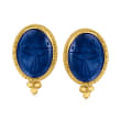 Blue Chalcedony Scarab Earrings in 18kt Gold Over Sterling