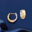 14kt Two-Tone Gold Reversible Huggie Hoop Earrings