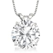 3.00 Carat CZ Solitaire Necklace in 14kt White Gold