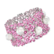 11-13mm Cultured South Sea Pearl, 95.00 ct. t.w. Pink Sapphire and 1.00 ct. t.w. Diamond Bracelet in 18kt White Gold