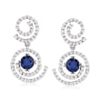 2.10 ct. t.w. Sapphire and 1.50 ct. t.w. Diamond Earrings in 14kt White Gold