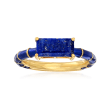 Lapis and Dark Blue Enamel Ring in 18kt Gold Over Sterling