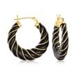 Black Agate Twisted Hoop Earrings in 14kt Yellow Gold