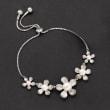 4-8.5mm Cultured Pearl Flower Bolo Bracelet in Sterling Silver