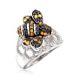 .55 ct. t.w. Black Spinel and .45 ct. t.w. Citrine Bee Dome Ring in Sterling Silver