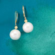 13-14mm Cultured Pearl Drop Earrings in 14kt Yellow Gold