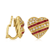 C. 1980 Vintage 4.50 ct. t.w. Ruby and 1.00 ct. t.w. Diamond Heart Earrings in 18kt Yellow Gold