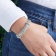 2.00 ct. t.w. Sky Blue Topaz Wheat-Link Bracelet in Sterling Silver