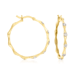 .10 ct. t.w. Diamond Bamboo Hoop Earrings in 18kt Gold Over Sterling