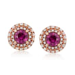 C. 1990 Vintage .70 ct. t.w. Ruby and .46 ct. t.w. Diamond Earrings in 18kt Rose Gold