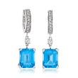 8.00 ct. t.w. Swiss Blue Topaz and .40 ct. t.w. Diamond Hoop Drop Earrings in 14kt White Gold