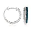 .25 ct. t.w. Blue and White Diamond Hoop Earrings in Sterling Silver
