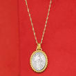 Italian 14kt Two-Tone Gold Miraculous Medal Adjustable Pendant Necklace