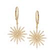 .75 ct. t.w. Diamond Starburst Drop Earrings in 18kt Yellow Gold