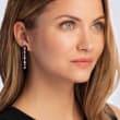 4.20 ct. t.w. Pink Sapphire and .33 ct. t.w. Diamond Drop Earrings with Black Agate in 18kt Rose Gold