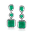 7.30 ct. t.w. Emerald Drop Earrings in Sterling Silver