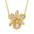 C. 1980 Vintage 1.18 ct. t.w. Diamond Flower Necklace in 18kt Yellow Gold