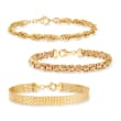 18kt Gold Over Sterling Jewelry Set: Three Link Bracelets